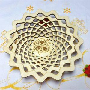Резная тарелка Цветы глубокая